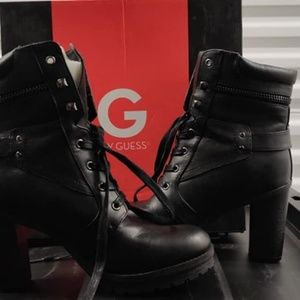 Guess High Heeled Combat Boots - Size 9